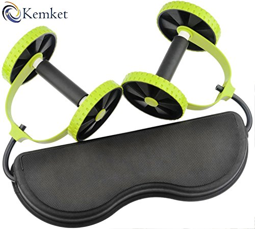 Kemket Core Double Wheels Ab Roller Pull Rope Abdominal Muscle Wheel Waist Slimming, home fitness equipment sporting goods For Men & Women (Pull Rope Abdominal Wheel)