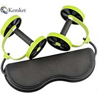 Kemket Abdominal Exercise Roller Wheel, Slider Roller Wheel, Pull Rope Abdominal Muscle Wheel Waist Slimming, :- Abs Roller With Extra Thick Knee Pad Mat and Comfort Foam Handles - Strengthen, Stretch, and Tone Your Abs, Core, Arms, Back, and Shoulders, Pull Rope Abdominal Muscle Wheel Waist Slimming, And Slider Roller Wheel With Extra Thick Knee Pad Mat and Comfort Foam Handles