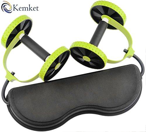 Kemket Core Double Wheels Ab Roller Pull Rope Abdominal Muscle Wheel Waist Slimming, home fitness equipment sporting goods For Men amp; Women (Pull Rope Abdominal Wheel)