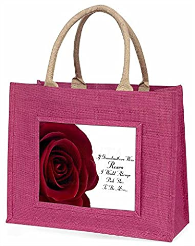 'If Grandmothers Were Roses' Large Pink Shopping Bag Christmas Present