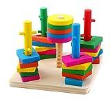 Tablero para Apilar y Clasificar, Netspower Juguetes Educativos Madera Puzzle Apilable con Formas Piezas de Construcción Forma de Madera Clasificador Stacker Puzzle Juego para Niños