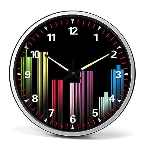 Le salon horloges horloge murale en acier inoxydable mute /