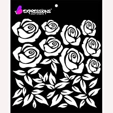 Expressions Craft Stamps Roses Stencils (6x6-inch, EST6027)