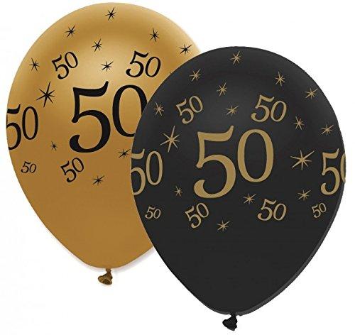 29 Teile Set zum 50. Geburtstag, Jubiläum oder Goldene Hochzeit – Party Deko in Schwarz & Gold - 3