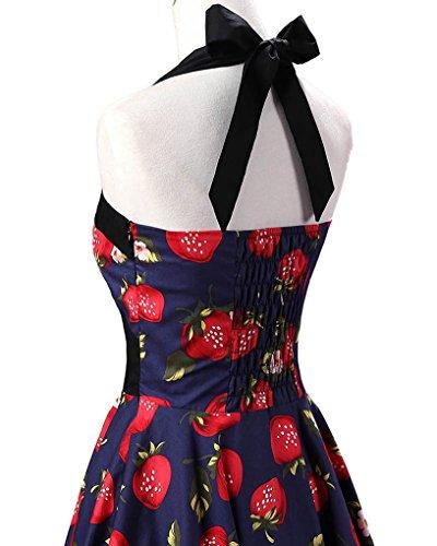 MISSMAO Damen Retro Blumen Kleid 50s Abschlussball Kleider Cocktail kleid Neckholder Rockabilly Swing Kleid Navy & Erdbeere