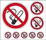 LEMAX® Aufkleber-Set Rauchen verboten Folie selbstklebend 1x100mm, 2x50mm, 5x25mm Ø (Rauchverbot, Verbotsschild) praxisbewährt, wetterfest