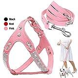 Ximger Verstellbares Hundegeschirr mit Strasssteinen, Brustgurt mit 122 cm passender Leine, Zugseil für kleine und mittelgroße Haustiere