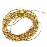 Sharplace 5 Meter Perlenband Perlenkette Perlengirlande Perlenschnur Mini-Perlen Minibeads Schmucksteine für Nageldesign Hochzeit Dekoration - Gold
