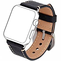 Apple Watch Band 42mm, [Upgraded Version] Zolion iWatch Strap Premium Vintage Crazy Horse Genuine Leather Replacement Watchband with Stainless Metal Clasp for All Apple Watch Sport Edition (Black)