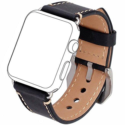 Apple Watch Armband 42mm, [Upgrade Version] Zolion iWatch Strap Premium Vintage Crazy Pferd echtes Leder Ersatz Armband mit Edelstahl Metall Schließe für alle Apple Watch Sport Edition (schwarz)