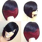 CPHGG Damen Perücken Kurze Glatte Haare Retro Rock Stil Perücken Natürliche Hochwertige Persönlichkeit Schwarze Perücken für Halloween Cosplay Party Perücken