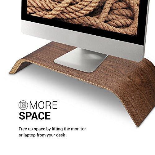 kalibri Bildschirm Holzständer TV Ständer - Computer Tisch Schreibtisch Aufsatz Monitorständer Desktop Bank - Schreibtischaufsatz aus Walnussholz - 3