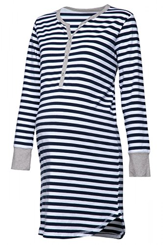 HAPPY MAMA. Damen Umstands Streifen Nachthemd mit Stillfunktion Langarm. 589p (Marine, 36-38, S)