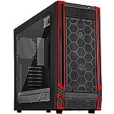 SilverStone SST-RL05BR-W - Red Line Midi Tower Gaming Gehäuse mit Fenster, rote LED Lüfter, ATX, schwarz