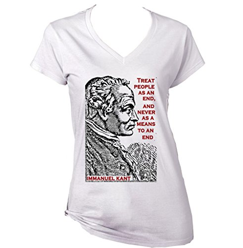 Teesquare1st Women's IMMANUEL KANT GERMAN PHILOSOPHER PEOPLE QUOTE White T-Shirt Size XXLarge