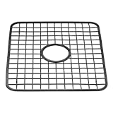 InterDesign Gia Kitchen Sink Protector Grid Mat - Regular with Hole, Matte Black
