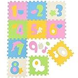 LittleTom Puzzlematte Spielmatte Zahlen 0-9 Pastellfarben Spielteppich Schaumstoff Puzzle Kinderteppich