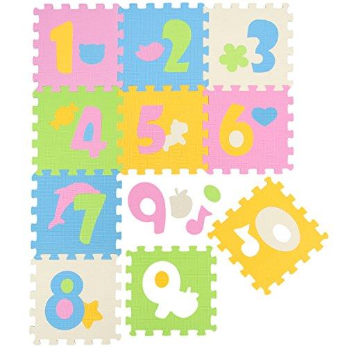LittleTom Baby Puzzlematte Ab Null Kinder Spielmatte Krabbelmatte Pastell Zahlen - Saw Jig Puzzle Hund