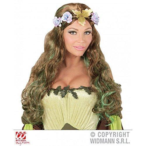 Langhaar Kunsthaar Perücke / Wig in grün braun mit Blüten Kostümzubehör Mutter Natur oder 70er / 80er Jahre Hippieperücke Hippiekostüm Zubehör