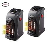 2PCS Handy Heater 400W Keramik Mini Heizung Thermostat Elektrische Heizung mit Timer Heizlüfter für Steckdose