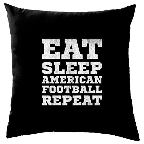 Eat Sleep American Football Repeat - Dekokissen 41 x 41 cm - Schwarz