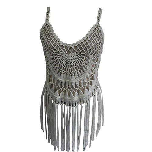 Damen Loose Boho Sommerkleid V-Ausschnitt Ethno-Style Strandkleid Kleid Häkelarbeitknit Strand Bikini Bluse Leibchen Weiblich Weiß