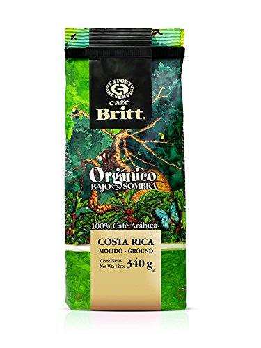 Cafe Britt Costa Rica Organic Shade Grown Arabica gemahlen Kaffee, 340 g Packung