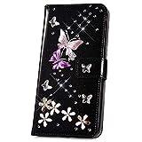 JAWSEU Compatible avec iPhone 5S/iPhone Se Coque Portefeuille PU Bling Diamant Cristal Cuir à Rabat Etui Papillon Paillette Brillant Glitter Strass Leather Flip Wallet Case,Noir