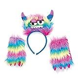 Conjunto monstruo del arco iris de colores monstruos diadema con cuernos Guantes de neón del partido