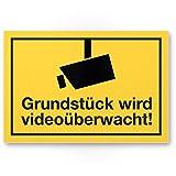 Grundstück wird videoüberwacht Kunststoff Schild, Infozeichen (gelb, 30 x 20cm), Hinweisschild, Warnhinweis Videoüberwacht Einbruchschutz, Warnhinweis Videoüberwacht - angelehnt an DIN 33450