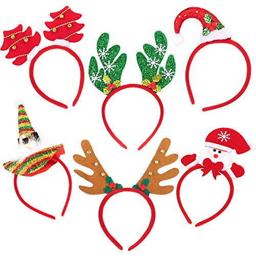 Whaline 6 Packs Christmas Headbands Reindeer Costume Hair Bands Elves Party Hats Accessories Gifts for Christmas Holiday