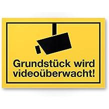 Grundstück wird videoüberwacht Schild, Infozeichen (gelb, 30 x 20cm), Hinweisschild, Warnhinweis Videoüberwacht für Einbrecher-Schutz, Warnhinweis Videoüberwacht - angelehnt an DIN 33450