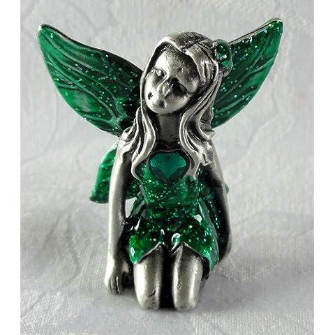 Gorgeous fatine Fairy Leonardo Collection 5 cm, colore: peltro, BNIB, May - Green Emerald