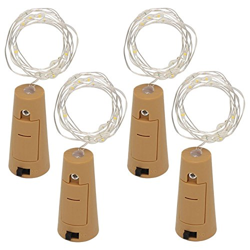ights, 10 cm mit 3 * LR44-Batterien Bottle String Light, DIY Decorative Lighting with Battery Powered,LED Silver String Lights for Party, Decor,Christmas,Halloween,Wedding ()
