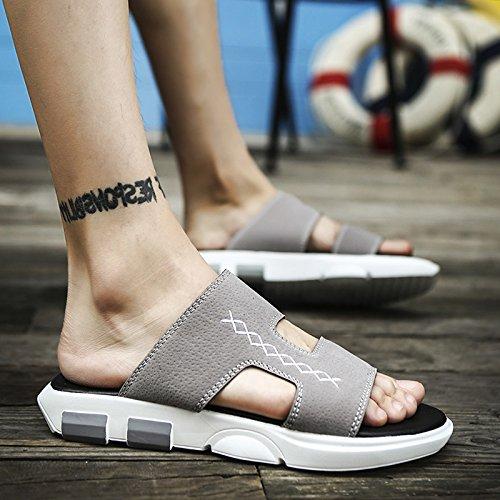 fankou Moda estate, pantofole scarpe da spiaggia che uomini sandali antiscivolo fondo morbido trascinare e svago estivo marea,43,a- (grigio)