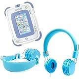 DURAGADGET casque bleu pour enfant pour tablette tactile Vtech Storio 2 & 3 Wifi – réglable et repliable avec microphone intégré