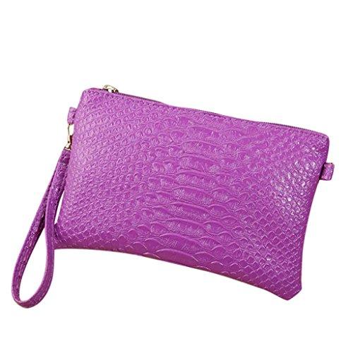 Longra Sacchetto del messaggero della borsa del telefono cellulare della borsa della moneta della borsa della moneta della stampa del serpente alla moda di colore solido Viola