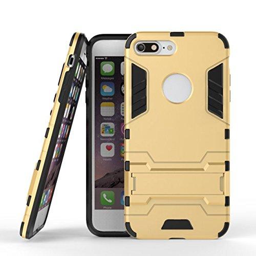 TIODIO® Apple iphone 8 plus / iphone 7 Plus Coque, Combo Housse Hybride Etui Robuste Protection de Double Couche d'Armure Lourde Case avec Béquille pour Apple iphone 8 plus / iphone 7 Plus Black or