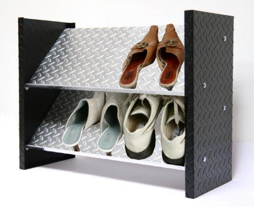 Schuhregal ALU, 48 x 60 x 26cm, 6 Paar, 2 Böden, Bicolor (48 Schuhregal)