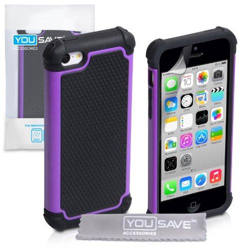 yousave-accessories-ap-ga02-z022-carcasa-para-iphone-5c-silicona-color-negro-y-morado