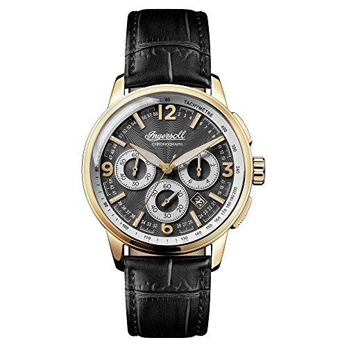 Ingersoll Men's The Regent Quartz Watch with Black Dial and Black Leather Strap I00102