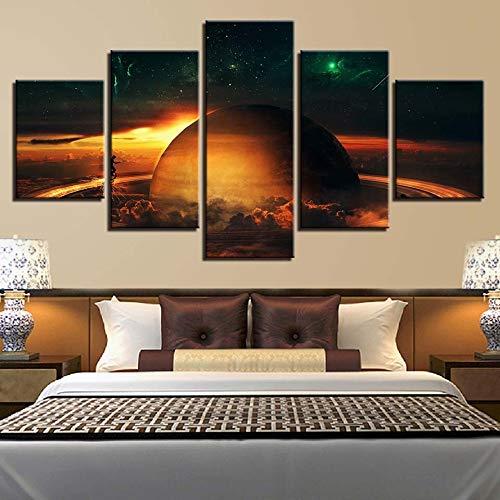 mmwin HD Drucke Dekoration Leinwand Planeten Nacht Hintergrund 5 Stücke Wandkunst Landschaft Modulare Bilder Kunstwerk Poster