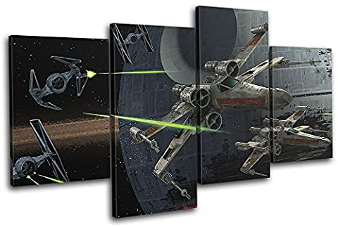 Bold Bloc Design - Star Wars X-Wing Tie Fighter Space 80x45cm MULTI Canvas Art Print Box Framed Picture Wall Hanging - Hand Made In The UK - Framed And Ready To Hang