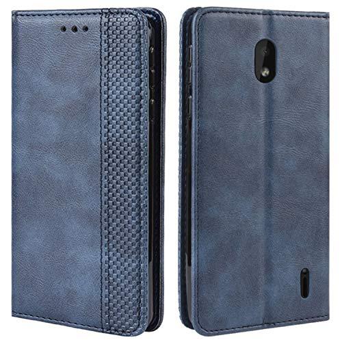 HualuBro Handyhülle für Nokia 1 Plus Hülle, Retro Leder Brieftasche Tasche Schutzhülle Handytasche LederHülle Flip Case Cover für Nokia 1 Plus 2019 - Blau