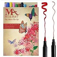 Set de rotuladores con doble punta de pincel- 12 colores - alta calidad, crea un efecto acuarela - Ideal para libros para colorear para adultos, manga, bullet journal, caligrafía - MozArt Supplies