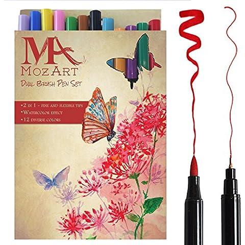 Pincel doble Conjunto de lápiz - 12 - Los colores de punta doble, duradera y de alta calidad, crear efecto de la acuarela - Lo mejor para adultos libros para colorear, manga, cómico, caligrafía - Suministros Mozart (12 colores)