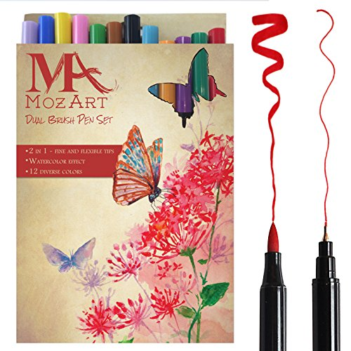 Set de rotuladores con doble punta de pincel- 12 colores - alta calidad, crea un efecto acuarela - Ideal para libros para colorear para adultos, manga, bullet journal, caligrafía - MozArt Supplies