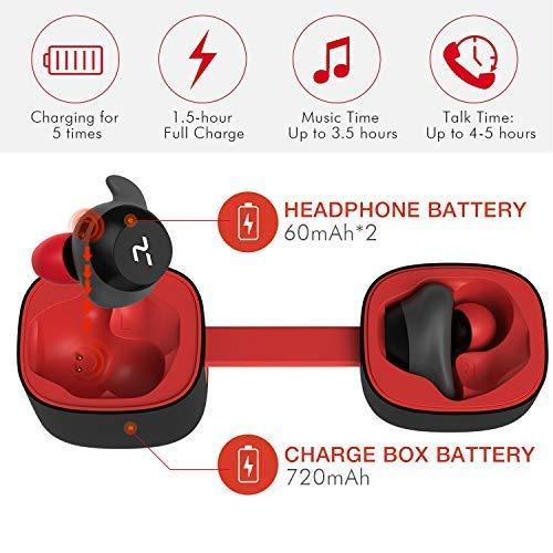 HAVIT Bluetooth Kabellose Kopfhörer in Ear V5.0, Sport Ohrhörer, IPX5 Wasserdicht, 18 Stunden Abspielzeit, Aufbewahrungsbox mit Ladefunktion,Eingebautes Mikrofon für iPhone,Samsung und Huawei, HTC - 4
