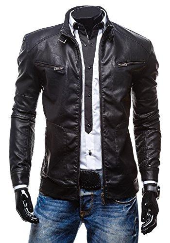BOLF Herrenjacke aus Kunstleder Sweatjacke Zipper Sweatshirt EXTREME 270 Schwarz