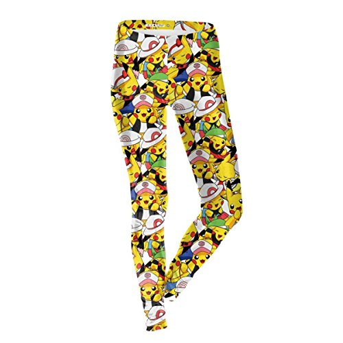 5x Super Plus Kostüme Größe (Frauen Mädchen Mädchen Pokemon Print Stretch Leggings Strumpfhosen Hosen Halloween Kostüme 2er)